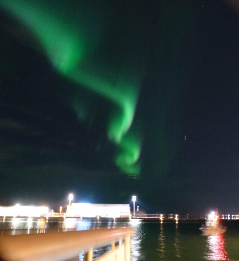 Northern Lights over Reykjavik Harbour