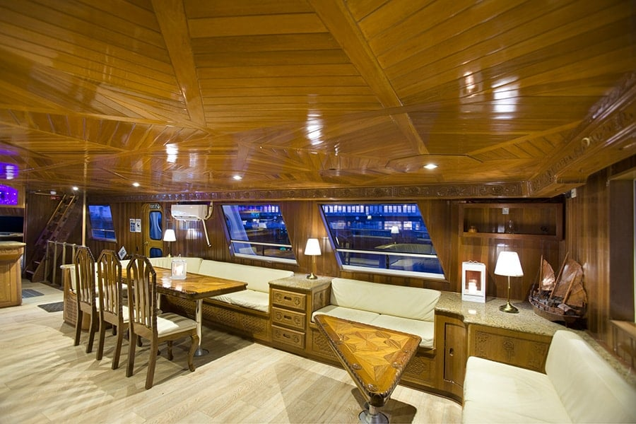 Internal photograph of the super yacht amelia rose. It can be hired privately or join to go whale watching