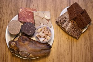 thorrablot - photograph of traditional Icelandic food including a cooked sheep head.