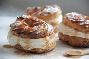 bolludagur - a picture of a round sweet pastry filled with cream and jam.