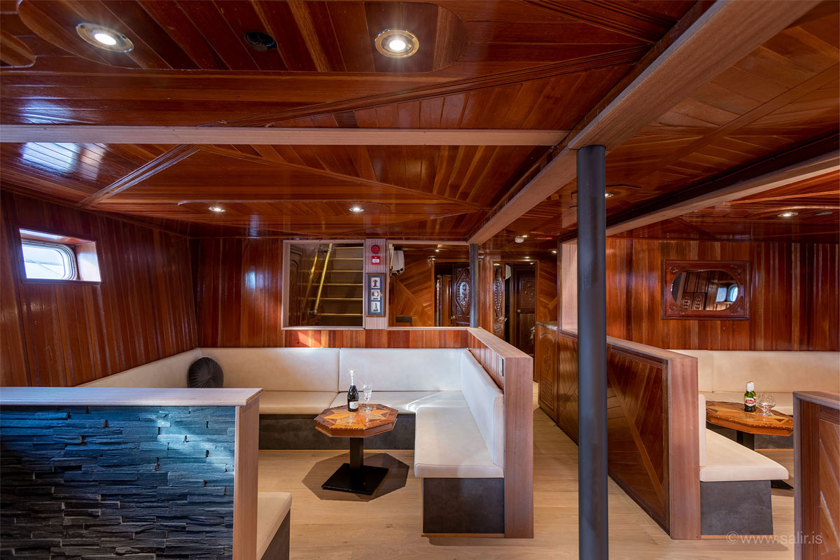 An internal view of the super yacht Amelia Rose, currently working out of Reykjavik in Iceland.